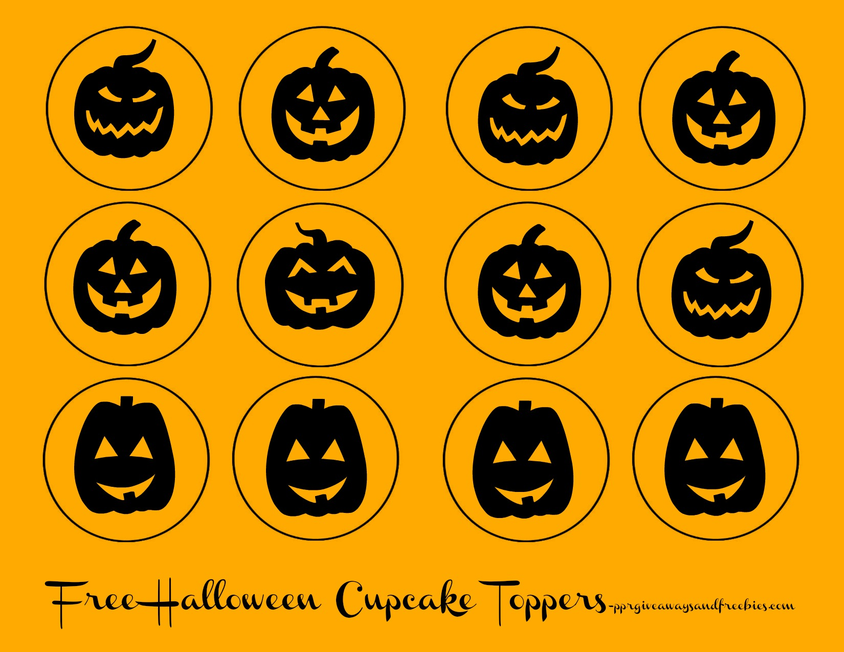Free Halloween Printables-Cupcake Toppers