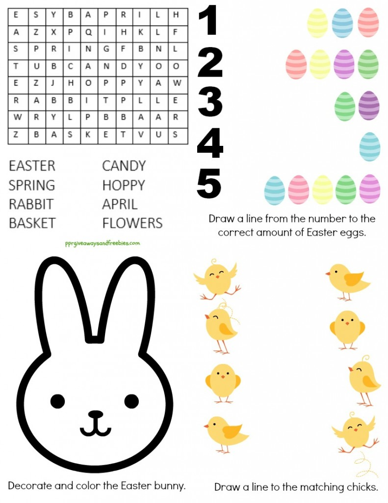 Free Easter Printable- Easter activity sheet, Easter Activity Worksheet, color the Easter bunny, match eggs, do the Easter word search, match numbers with Easter Eggs