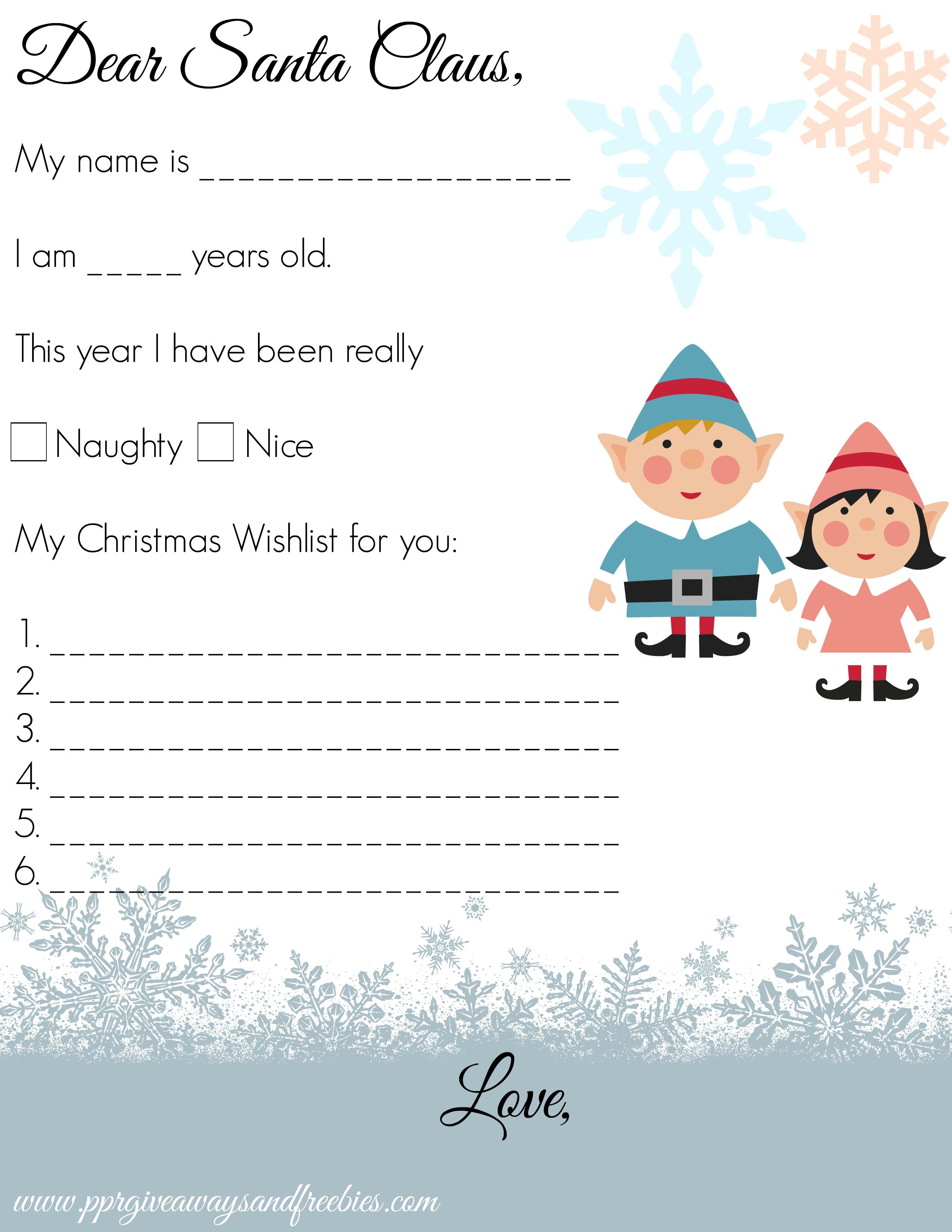 Dear Santa Letter – Free Printable