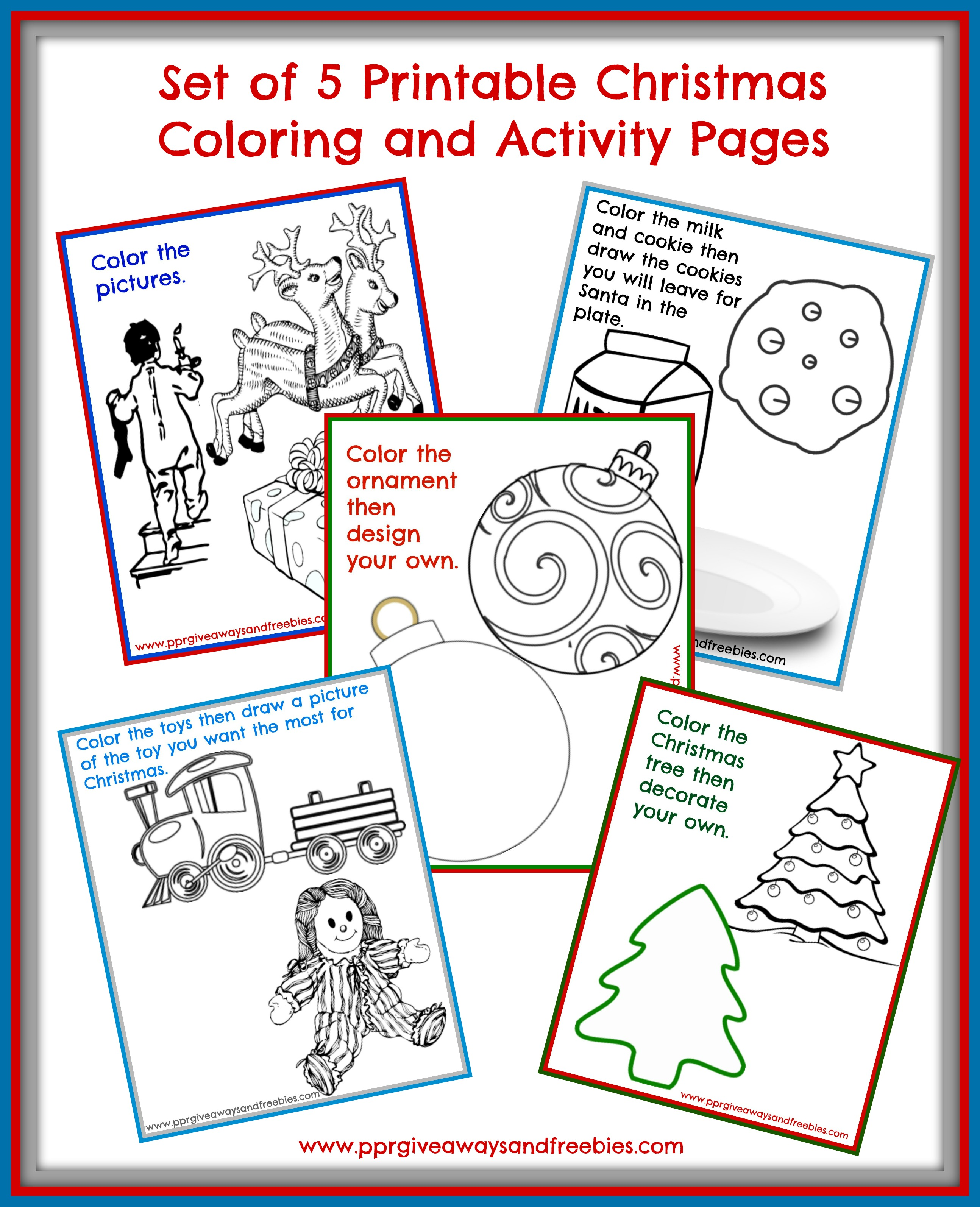 5 Christmas Activity Pages Printables