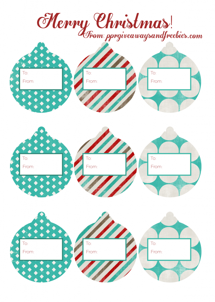 Christmas Ornament Gift Tags-Free Printable