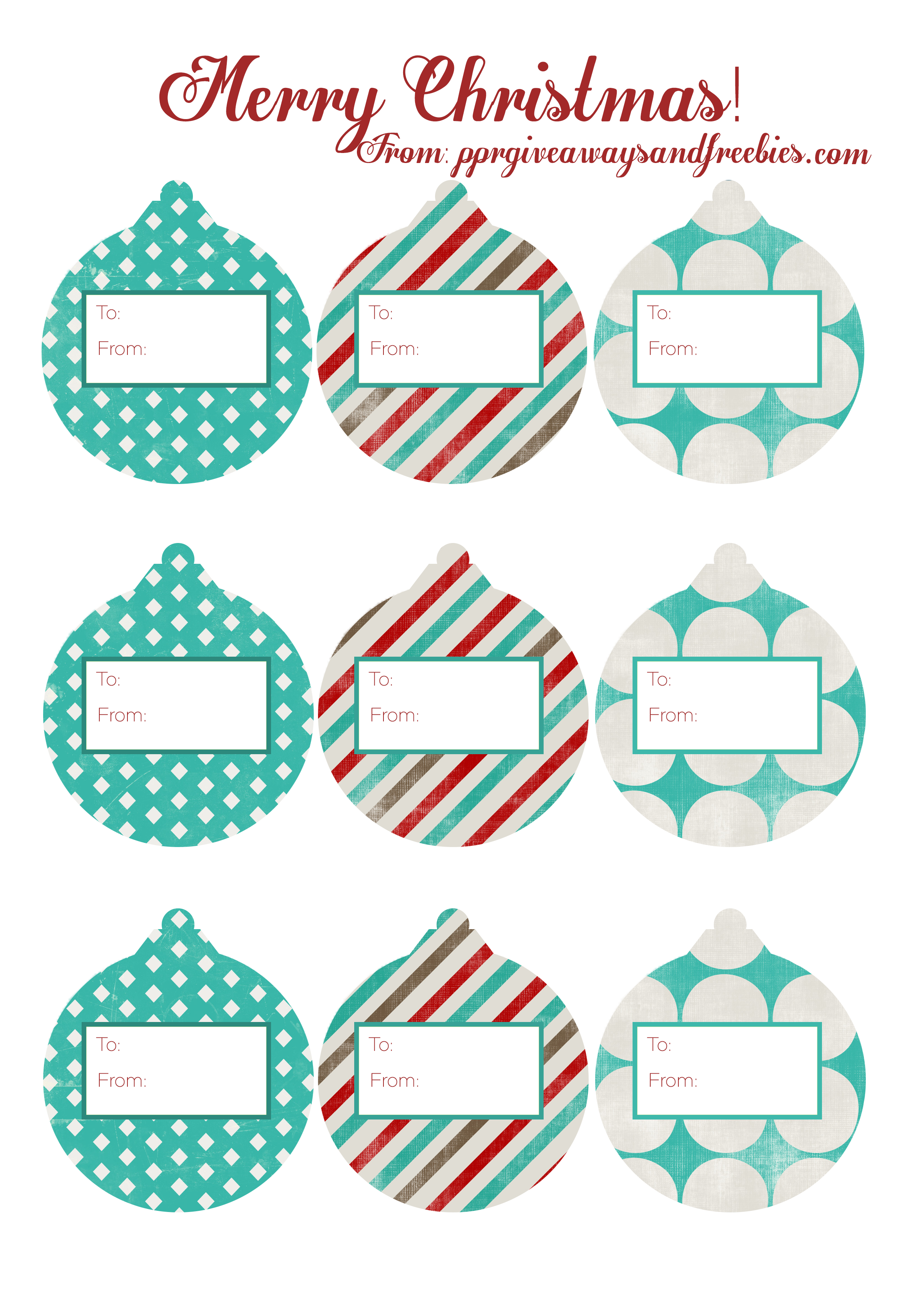 Christmas Ornament Gift Tags