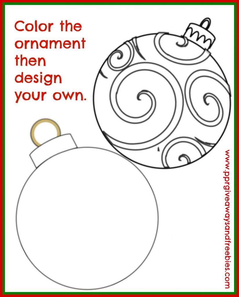 5 Christmas Activity Pages Printables-Ornament