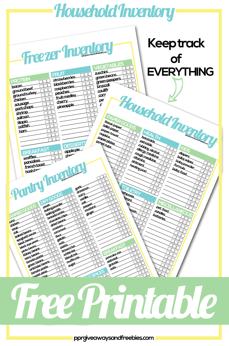 Household Inventory Free Tracker Printables