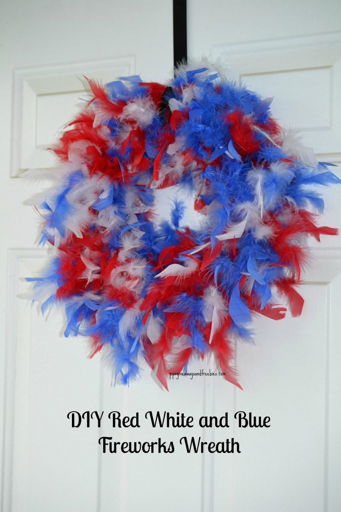 DIY Red White and Blue Fireworks Wre  ath side view