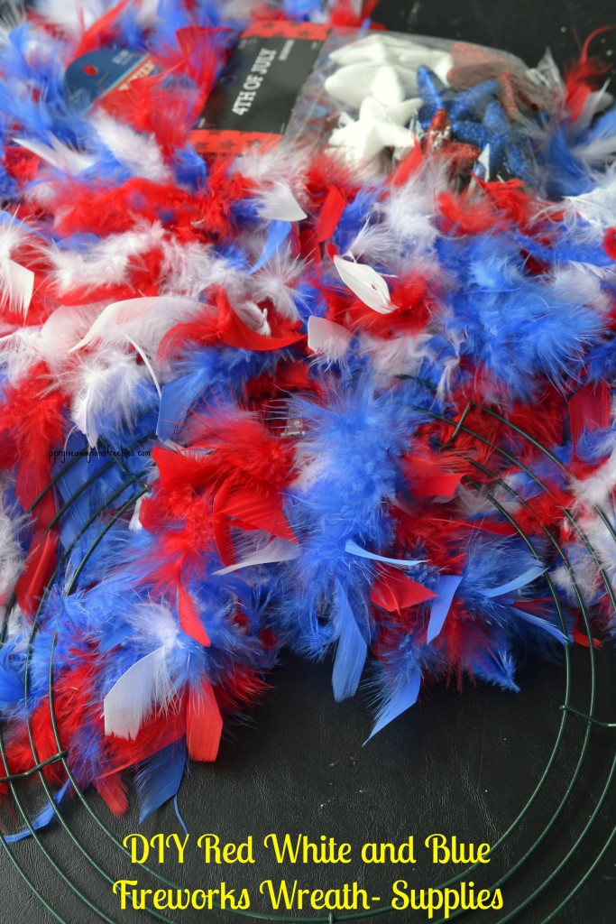 DIY Red White and Blue Fireworks Wreath-Supplies