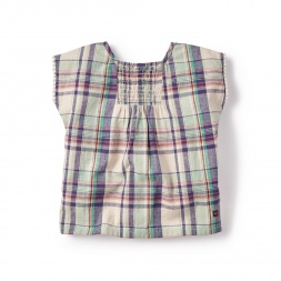 Rokio Plaid Top for Girls-Tea  Collection