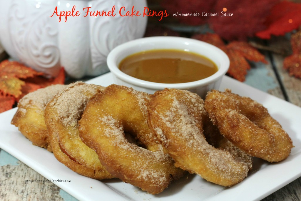 Apple Funnel Cake Rings with Homemade Caramel Sauce