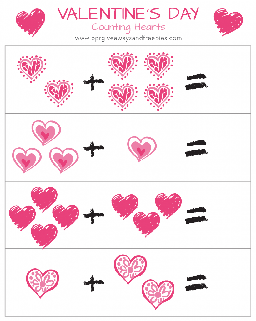 Valentines Day-Printable Activity Set-Counting