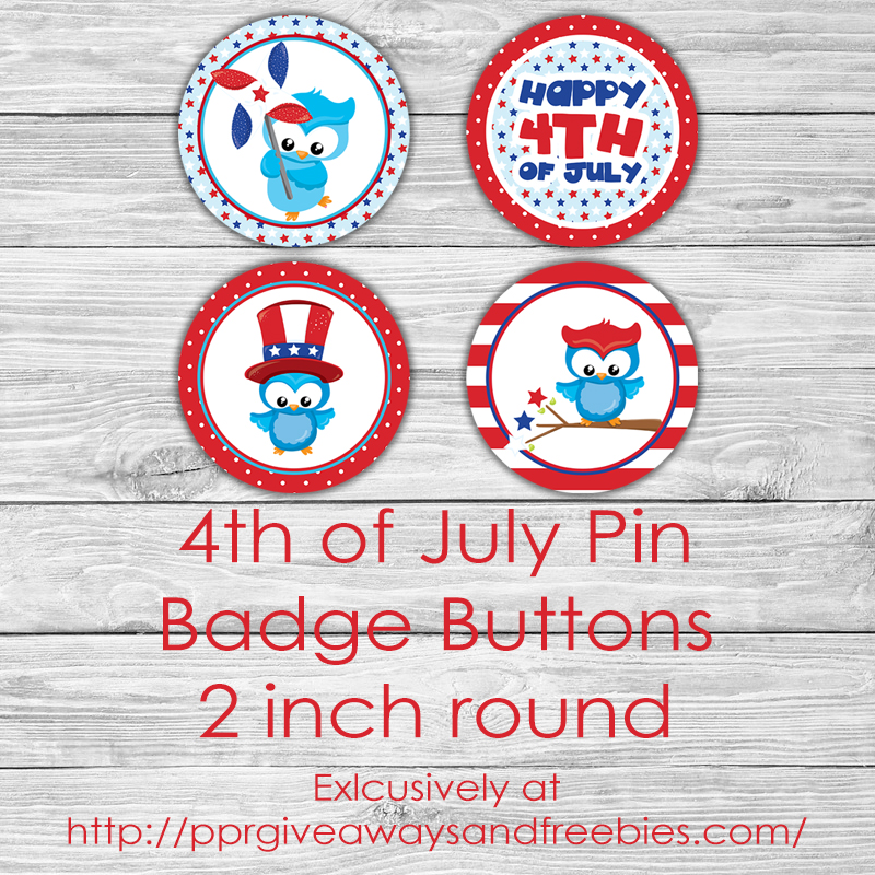 4th of July Badge Buttons