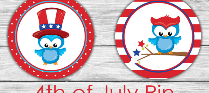 4th of July Badge Buttons Printable