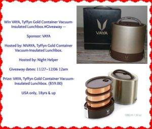 VAYA Tyffyn Gold Container Vacuum-Insulated Lunchbox Giveaway